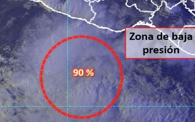 Zonas de baja presión con 90% de desarrollo ciclónico en el Pacífico - zona de baja presión