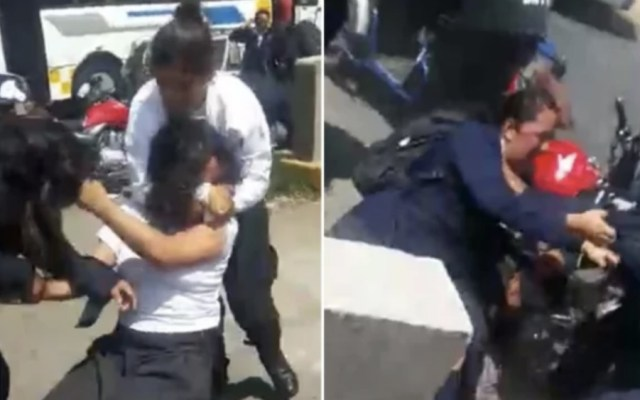Policías golpean y someten a alumnas y a mototaxista en Nezahualcóyotl - Foto de captura de pantalla