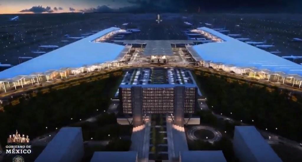 Aeropuerto de Santa Lucía será inaugurado el 21 de marzo de 2022, anuncia AMLO - Vista aérea de lo que será el AISL. Captura de pantalla