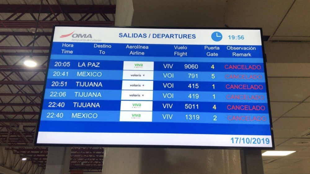 Operador del aeropuerto de Culiacán reporta cancelaciones en vuelos - Foto de @OMAeropuertos
