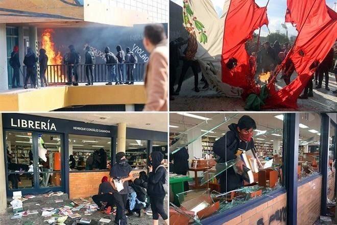 Actos vandálicos en inmediaciones de Rectoría UNAM. Foto de @tatsituit
