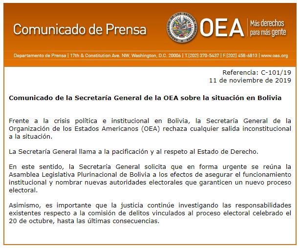 El comunicado de la OEA convocando a reunión