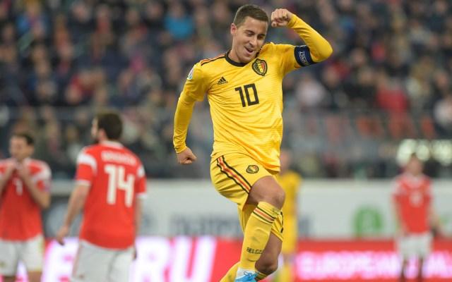 Bélgica golea a Rusia en eliminatorias para la Euro 2020 - Festejo de Eden Hazard en partido de Bélgica contra Rusia. Foto de @UEFAEURO