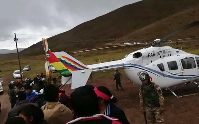 Helicóptero que trasladaba a Evo Morales sufre accidente - Helicóptero accidentado con Evo Morales a bordo. Foto de El Deber Bolivia