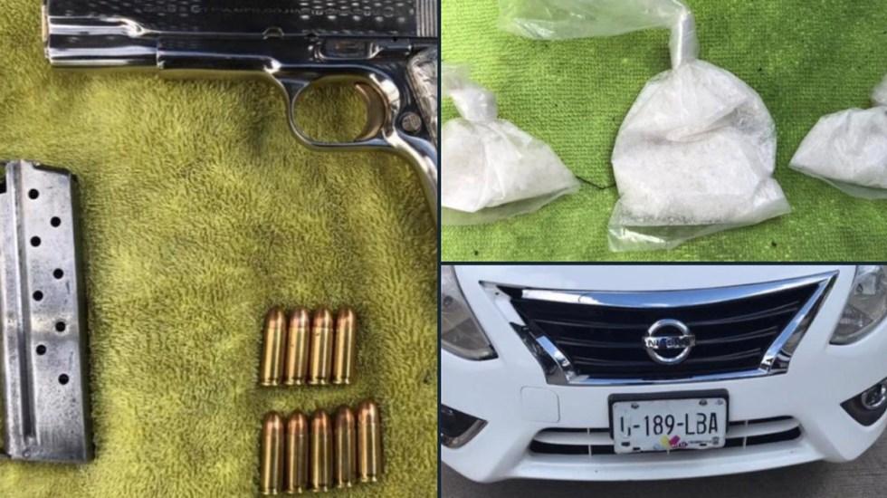 Detienen a cinco en posesión de metanfetamina y un arma de fuego en Uruapan - Detienen a cinco en Uruapan.