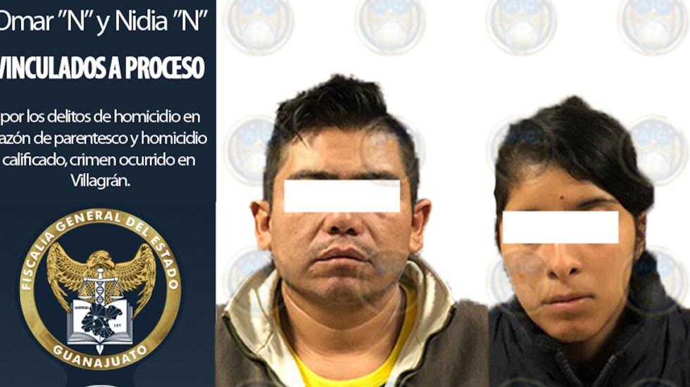 Matan a niño a golpes; vinculan a proceso a madre y padrastro en Guanajuato - Omar y Nidia 'N', acusados de la muerte de menor de cuatro años. Foto de pgjguanajuato.