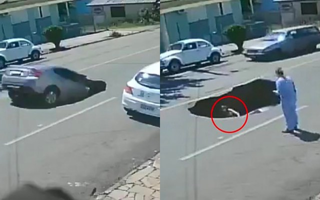 #Video Conductora cae a socavón recién formado tras el paso de un camión de carga - Conductora cae a socavón en Brasil
