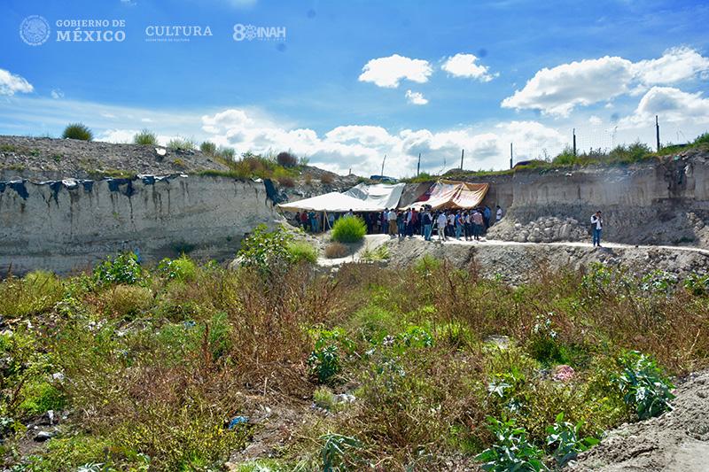 Descubren en Tultepec, Estado de México, contexto inédito de cacería y destazamiento de Mamuts. Foto de INAH.
