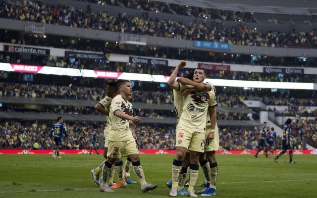 América vs. Monterrey, la final de la Liga MX - Federico Viñas festejando su anotación en las semifinales del Apertura 2019, donde América venció a Monarcas Morelia en cancha del Estadio Azteca. Foto de Mexsport