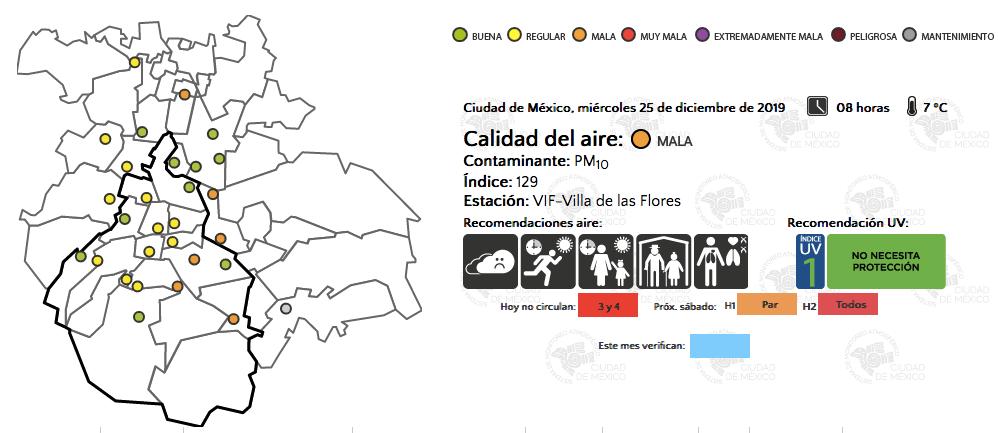 mala calidad del aire en sureste y noreste del Valle de México