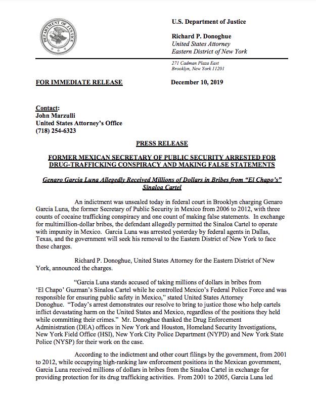 Comunicado del Departamento de Estado sobre la detención de Genaro García Luna.