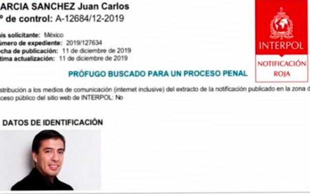 Interpol emite ficha roja contra exesposo de Abril Pérez - Ficha de Interpol contra Juan Carlos. Foto de Interpol