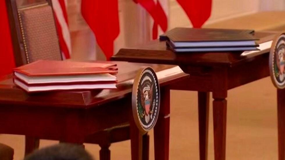China y Estados Unidos firman acuerdo comercial 'fase uno' - Acuerdo comercial de 'fase uno' entre China y Estados Unidos. Foto de @CGTNOfficial