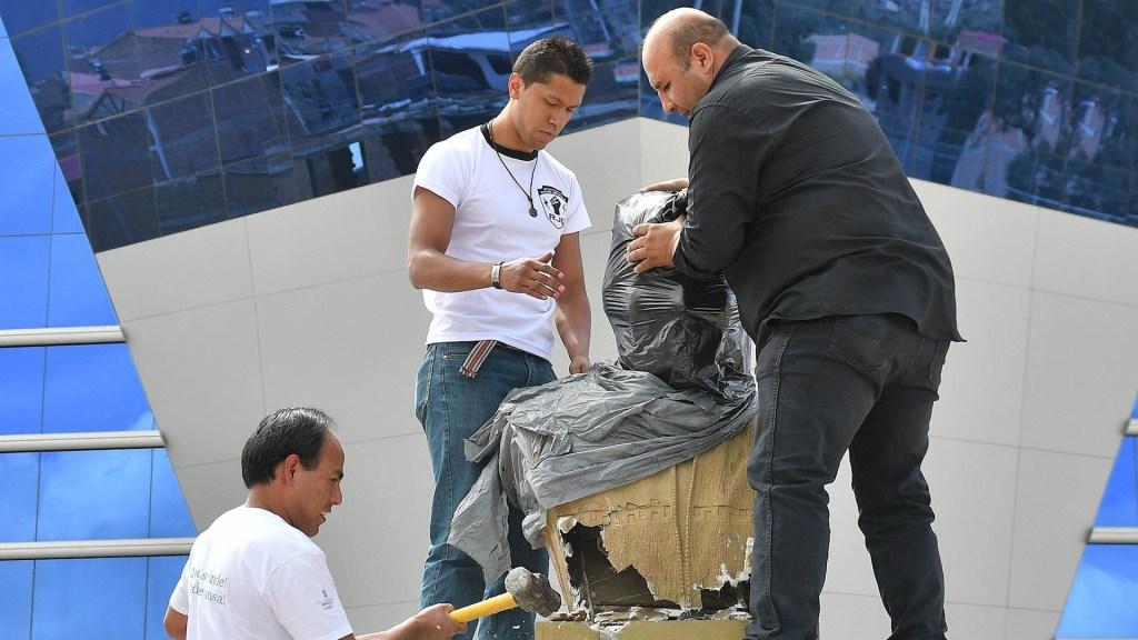 Retiran un busto y el nombre de Evo Morales de instalación deportiva en Bolivia - Busto Evo Morales Bolivia coliseo deportes