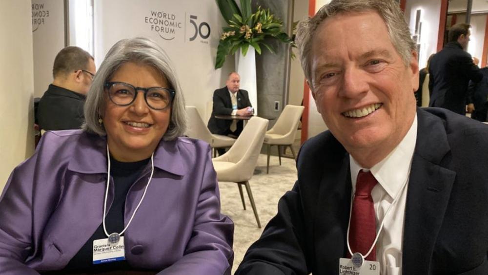 Graciela Márquez se reunió con representante comercial de EE.UU. en Davos - Foto de @GMarquezColin