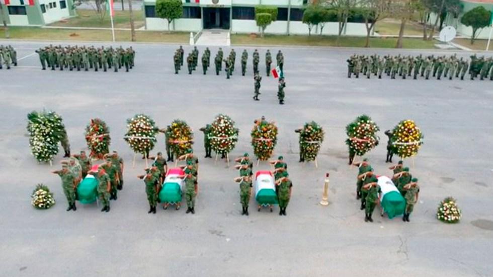 Disparo accidental provocó volcadura que mató a miembros de la Sedena y GN - Homenaje a miembros de la Sedena y Guardia Nacional que murieron en Reynosa. Foto de @PuntoRojoJmz