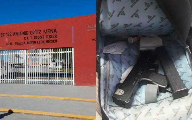 Hallan subametralladora en mochila de estudiante de secundaria en Nuevo León - El estudiante, de 13 años, que ingresó al plantel con el arma, aseguró que encontró la subametralladora tirada en la calle