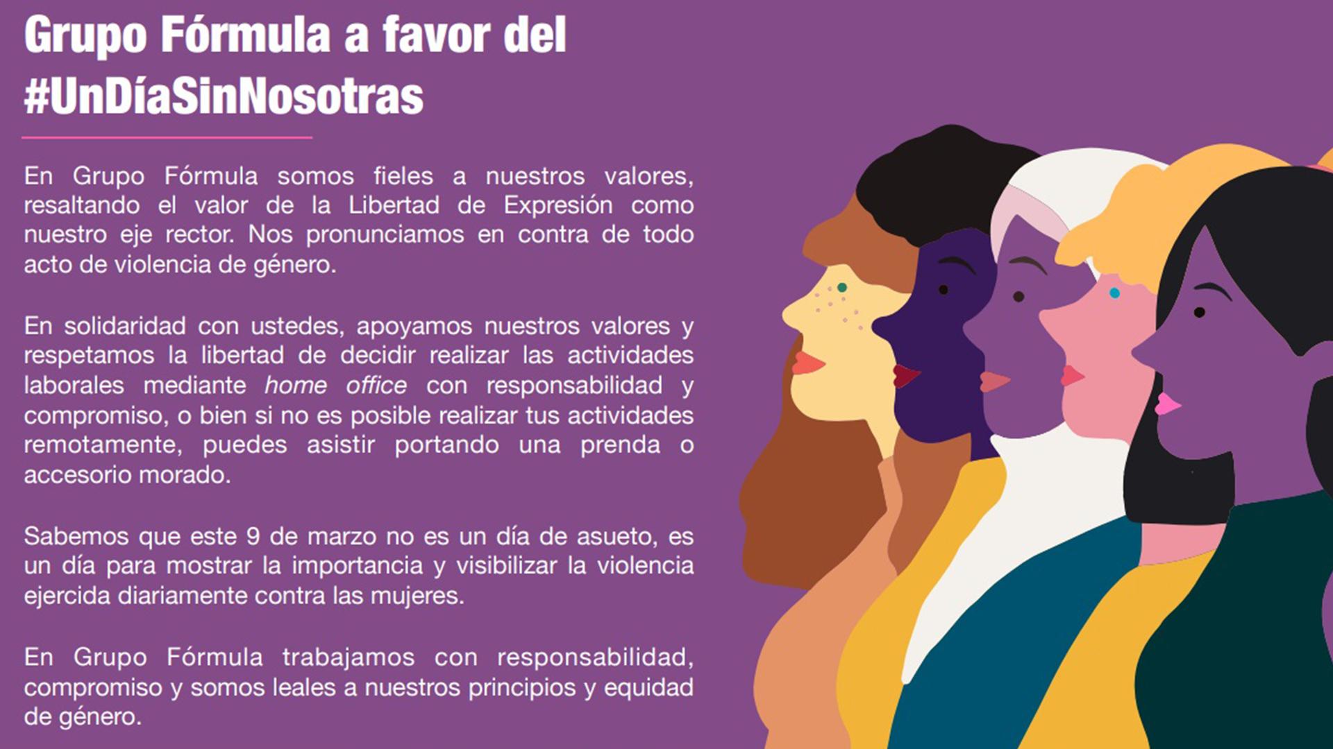 Dia Del Trabajador Mujeres grupo fórmula se suma a 'un día sin nosotras'