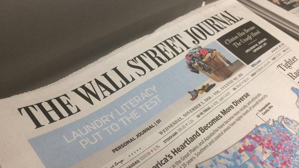 Pompeo condena expulsión de tres reporteros del WSJ de China - Ejemplar impreso del The Wall Street Journal. Foto de WSJ