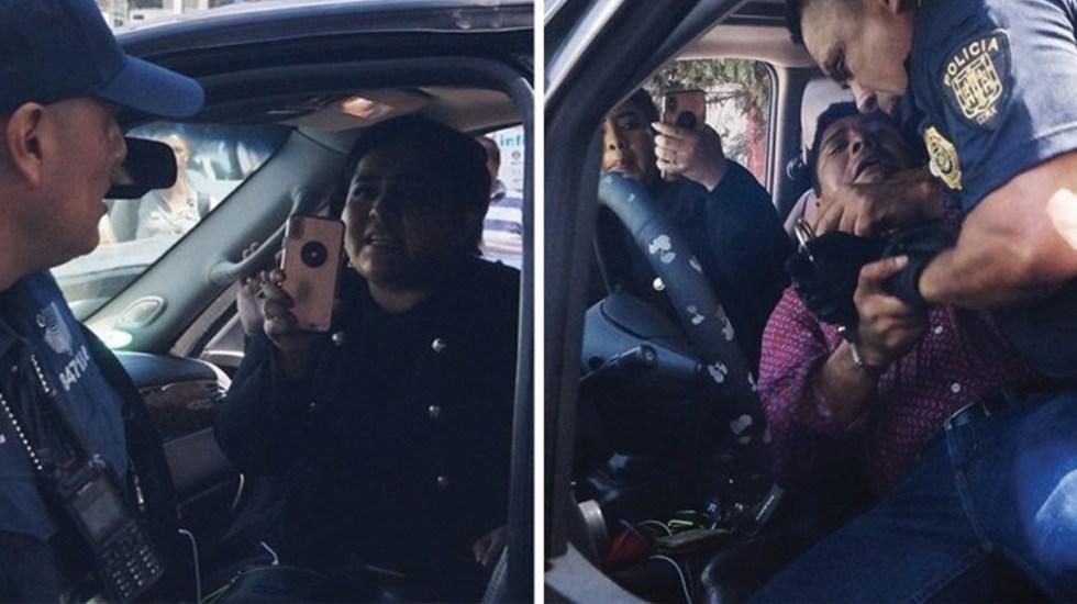 Por incidente vial, agresión de chofer de senadora Claudia Balderas a policía - Foto de @cguerreromtz