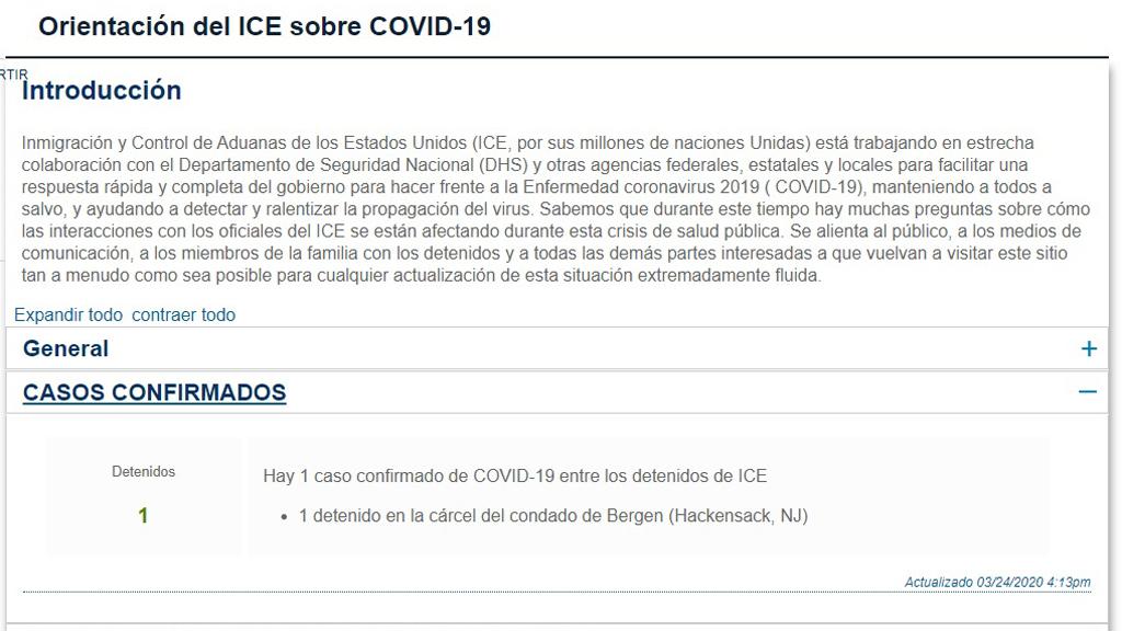 Mexicano detenido en EU da positivo a COVID-19