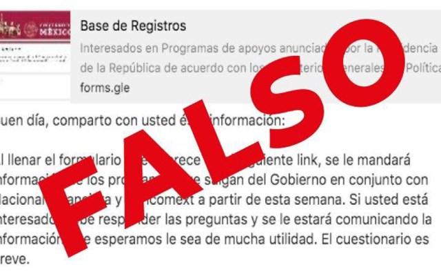 Alertan por página falsa para recibir apoyos del Gobierno de México - Página falsa para recibir apoyos sociales. Foto de @Hacienda_Mexico