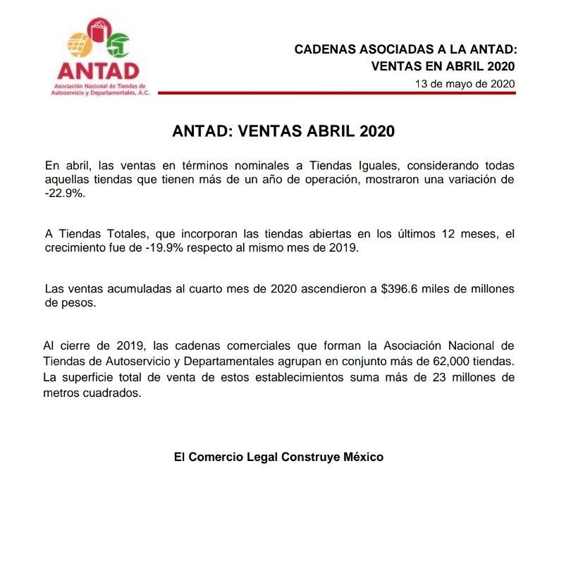 El comunicado de ANTAD sobre las ventas en las tiendas de autoservicio durante abril.