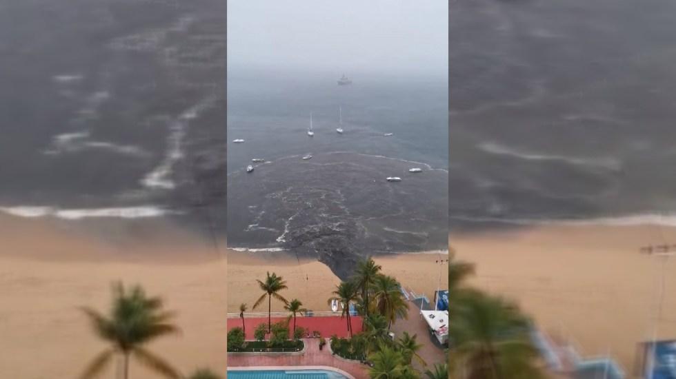 Conagua interpone denuncia contra Comisión de Agua Potable y Alcantarillado de Acapulco, encabezado por la alcaldesa de Morena, Adela Román - Aguas negras en la Bahía de Acapulco. Captura de pantalla