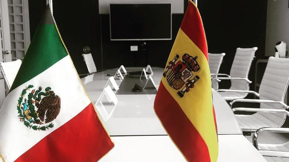 Empresas europeas en México también se benefician del T-MEC - Banderas de México y España. Foto de @camescommx
