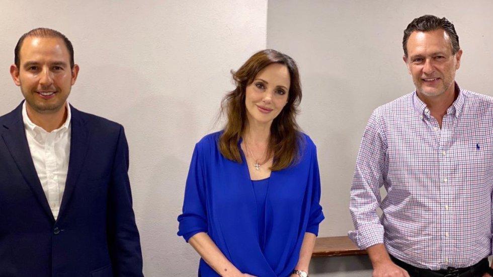 Lilly Téllez nueva integrante de la bancada del PAN, tras dejar Morena - Lilly Téllez con Marko Cortés, líder del PAN, y Mauricio Kuri, de la fracción parlamentaria en el Senado. Foto de @makugo