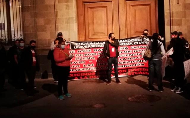 Trabajadores de la Universidad de Chapingo bloquean accesos a Palacio Nacional - trabajadores Chapingo Palacio Nacional