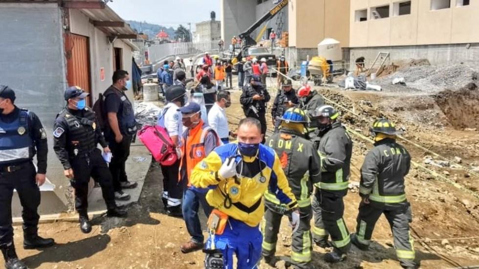 Deslizamiento de tierra en obra de Hospital General de Topilejo deja cuatro lesionados - Derrumbe Hospital Topilejo Tlalpan México