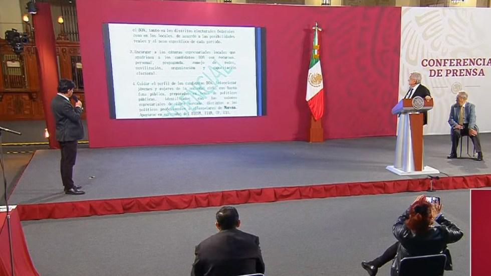 TEPJF ratifica no imponer medidas cautelares a López Obrador por dar a conocer BOA - Lectura del Proyecto BOA en la conferencia matutina del 9 de junio. Captura de pantalla