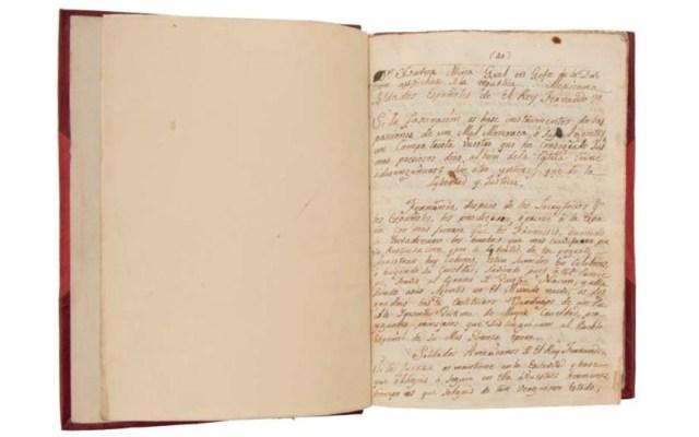 INAH denuncia subasta de manuscritos considerados 'monumentos históricos' - Manuscrito para subasta de la casa Morton. Foto de Morton Subastas