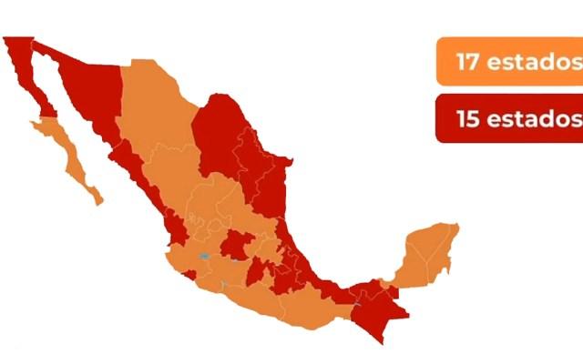 Semáforo epidémico en México: 17 entidades están en color naranja; 15 estados permanecen en riesgo máximo - Mapa del Semáforo epidémico de México al 3 de julio. Foto de SSa