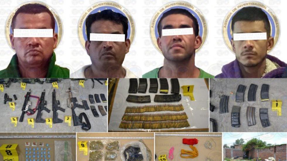 Rescatan en Guanajuato a cuatro víctimas de secuestro y aseguran arsenal - Presuntos miembros de banda dedicada al secuestro detenidos en Guanajuato. Foto de @FGEGUANAJUATO