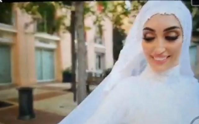 #Video Explosión en Beirut sorprende a novia durante sesión de fotos - Novia sorprendida por explosión en Beirut. Captura de pantalla
