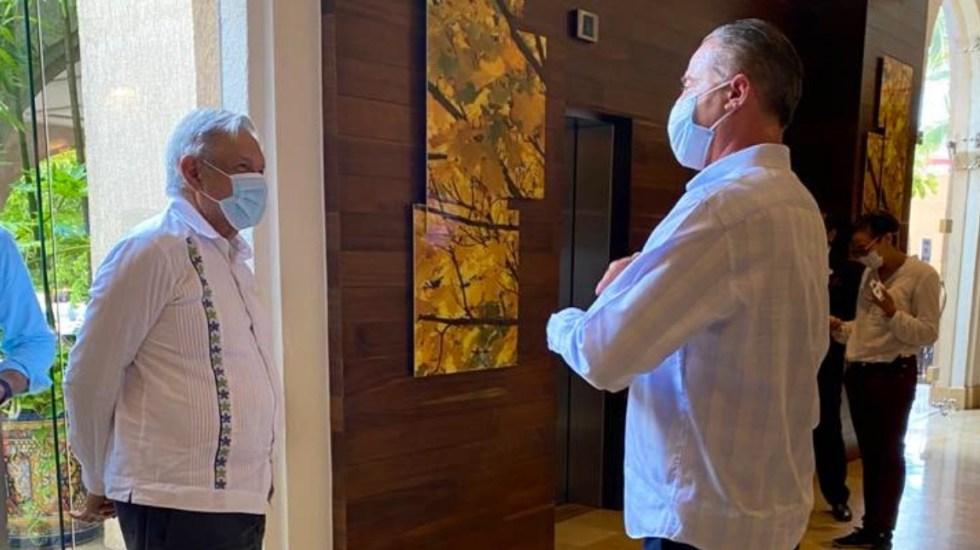 López Obrador llega a Sinaloa usando cubrebocas - Quirino Ordaz AMLO Andrés Manuel López Obrador Sinaloa