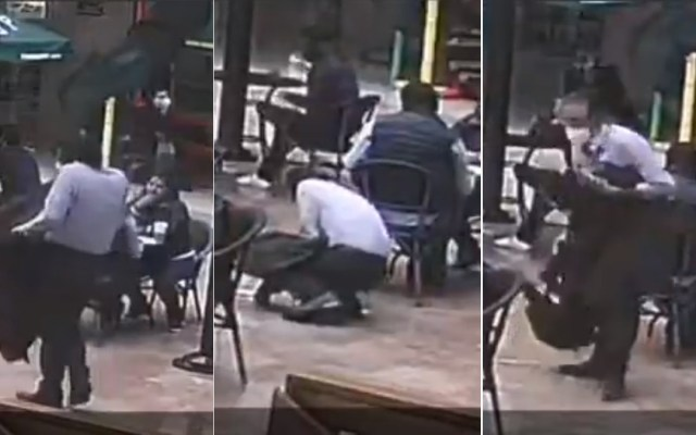 #Video Así roban mochilas en Plaza Inn de la Ciudad de México - Robo de mochila en Plaza Inn. Captura de pantalla