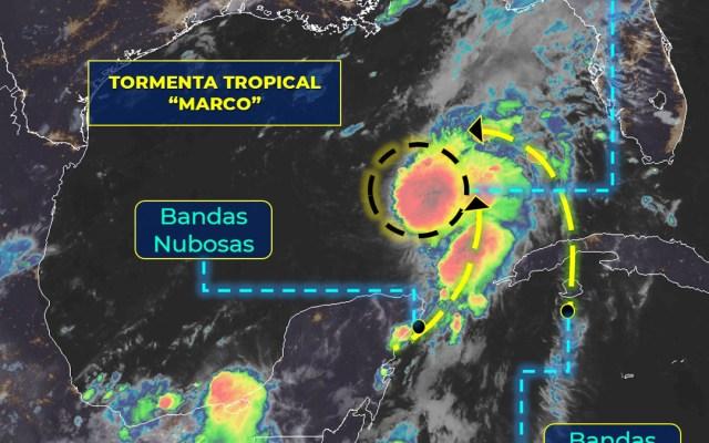 Marco se fortalecería a huracán categoría I este domingo; continuarán lluvias en Yucatán y Quintana Roo - Tormenta tropical 'Marco'. Foto de SMN