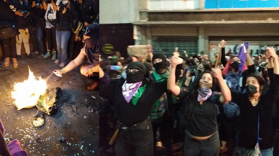 "Feministas queman piñata de AMLO durante ""Antigrita"" afuera de la CNDH - Antigrita CNDH México"