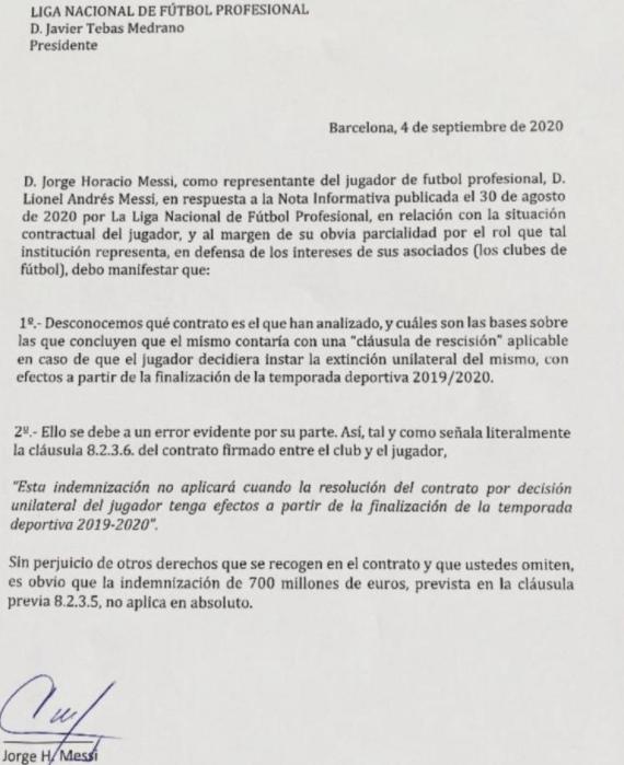 La carta de Jorge Messi a Javier TEbas.