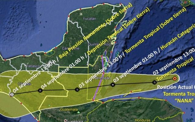 Nana se intensificará a huracán en las próximas horas; mantienen monitoreo en Quintana Roo - Foto de SMN
