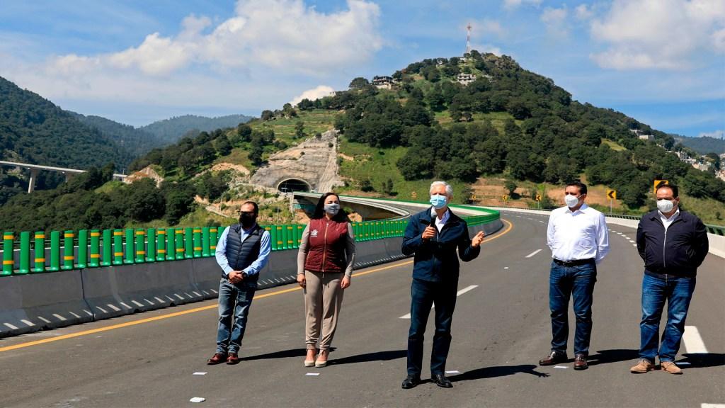 "Inauguran autopista Toluca-Naucalpan; Edomex tiene potencial para ser el ""centro logístico del país"", asegura Del Mazo - Foto Twitter @alfredodelmazo"