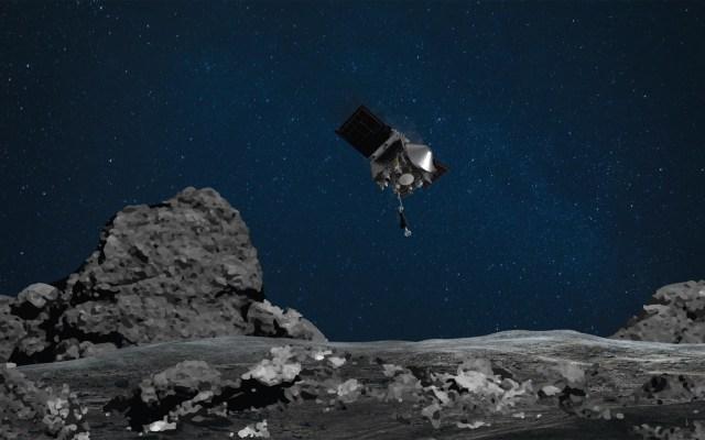 Por primera vez la NASA recogerá rocas y polvo de asteroide en órbita - Animación de recolección de muestras del asteroide Bennu. Foto de NASA