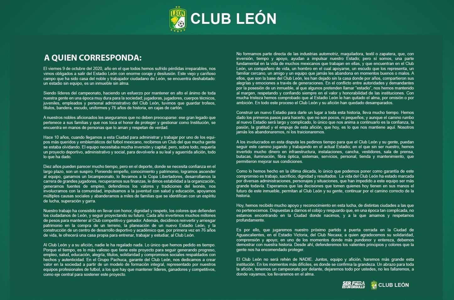 El comunicado del Club León.