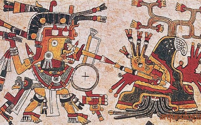 Solicita López Obrador a Italia préstamo de códices históricos de México - Tlahuizcalpantecuhtli, en su versión de estrella matutina o Venus, flecha a un monte, que representa la entrada al inframundo y al Sol en Código Cospi. Foto de MARCO ANTONIO PACHECO / RAÍCES