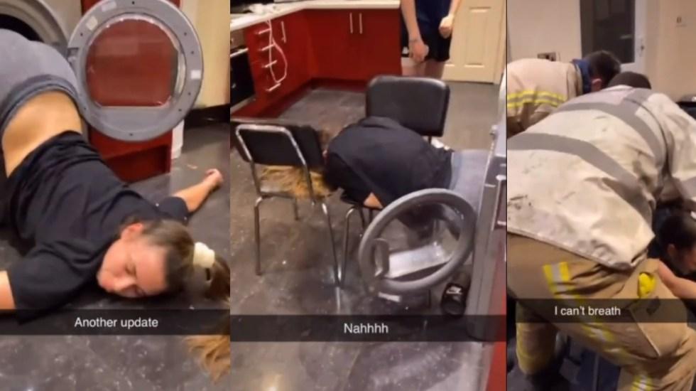 #Video Joven queda atrapada en secadora de ropa por horas al intentar cumplir reto viral - Captura de pantalla