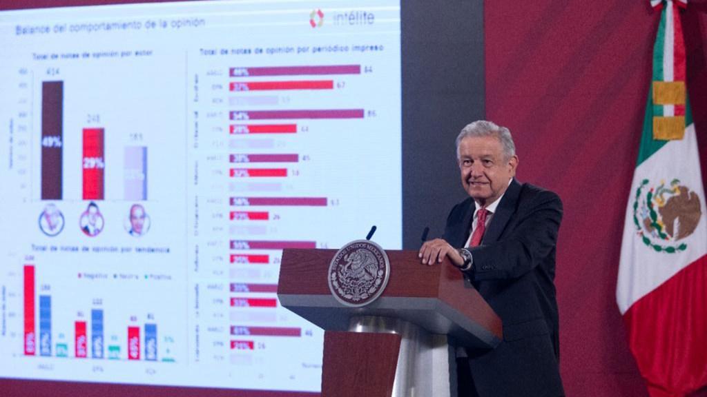 """""""Imposible concluir"""" si López Obrador es el presidente más atacado, afirma analista Luis Estrada - López Obrador al presentar análisis de opiniones en medios sobre presidentes. Foto de Gobierno de México"""
