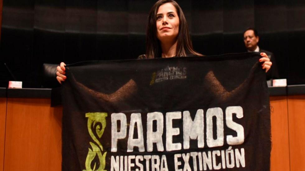 #Video Senadora asistió con síntomas de COVID-19 a sesión sobre extinción de Fideicomisos; se quitó el cubrebocas en Tribuna - Foto Twitter @VeroDelgadilloG